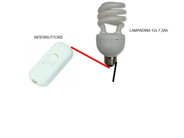 interruttore lampadina : 24 . arrivano dall?interruttore alla batteria da 12v 7,2Ah, il filo ...